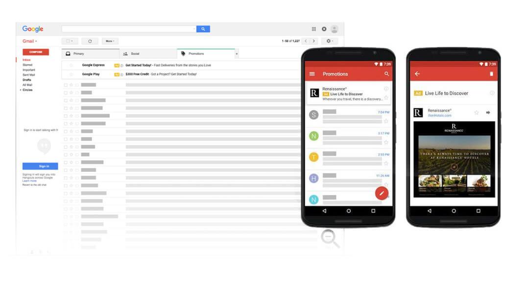 gmail oglašavanje swipe primjer