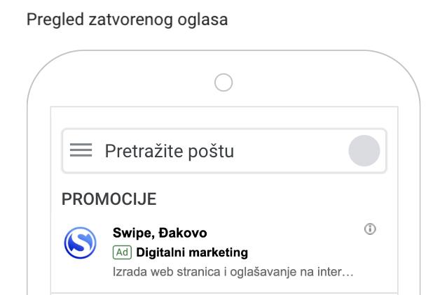 gmail oglašavanje mobilni uređaj